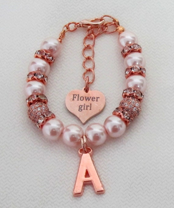 Blush Pink Pearls Jewelry,Rose gold Personalize bracelet,Rose gold jewelry,Rose gold wedding gift,Flower girl bracelet,Free Shipping USA