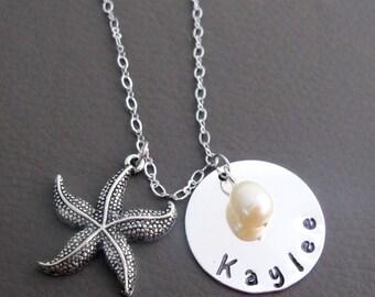 Personalized Starfish Bridesmaid Name Necklace,Beach Wedding Jewelry,Wedding Beach Jewelry,Bridesmaid Name Necklace,Free Shipping USA