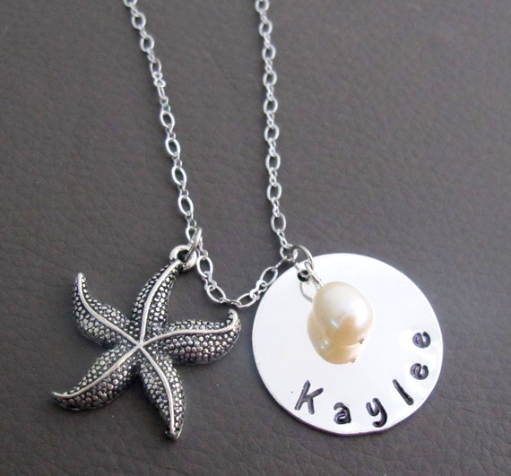 Personalized Starfish Bridesmaid Name Necklace,Beach Wedding Jewelry,Wedding Beach Jewelry,Bridesmaid Name Necklace,Free Shipping USA