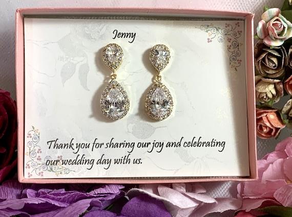 Custom Color, Bridesmaid Earrings,bridesmaid gift, Wedding Earrings, Cubic Zirconia Bridal Party Earring, Teardrop Earrings, Wedding Jewelry