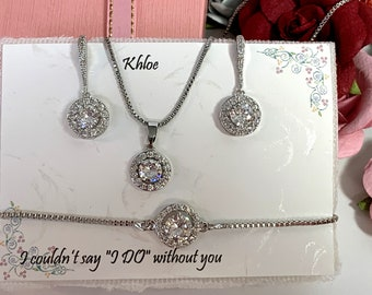 Custom color Bridesmaid gift set, Bridesmaid necklace bracelet earrings set, Bridesmaid proposal gift, Gold Jewelry Set, Wedding jewelry set