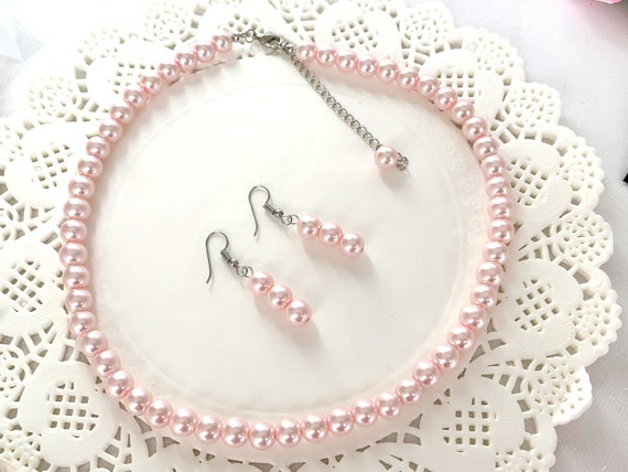 Pink Pearls Necklace Set 16 Inches Affordable Bridesmaid Gift Free Shippin In USA