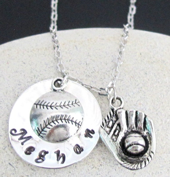 Personalized Baseball Necklace Hand stamped baseball mitt custom necklace sports Baseball Mitt Personalized player name Free Shipping In USA
