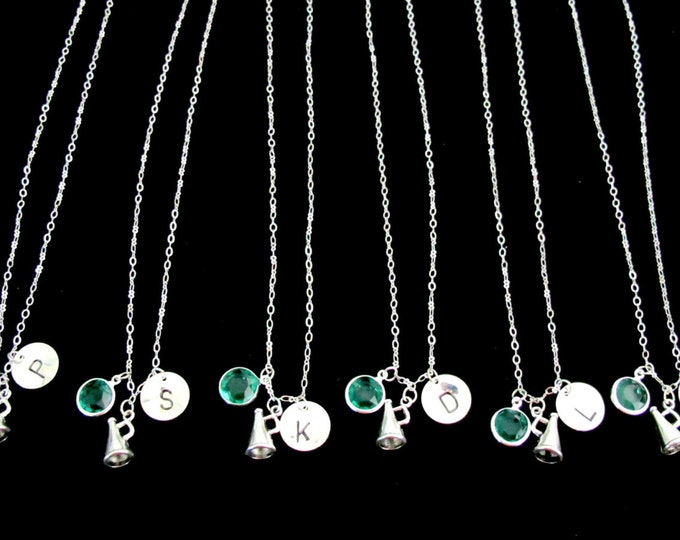 Personalized Cheerleader Necklace - Cheer Team Necklaces -Hand stamped Initial Necklace Initial Cheer Squad Necklaces Free Shipping USA