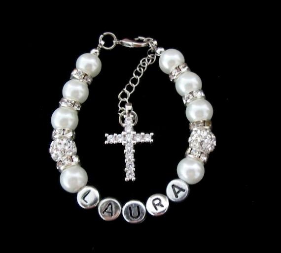 Baptism Bracelet, First Communion Bracelet Christening Bracelet, Baby Bracelet, Christian Jewelry,Cross Bracelet Gift, Free Shipping In USA