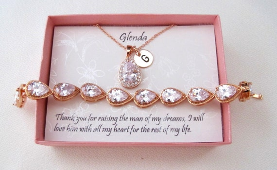 Custom Mothers gift, Mother of the bride set, Bridesmaid gifts rose gold Set, Bridal Jewelry custom proposal card bridesmaid Jewelry