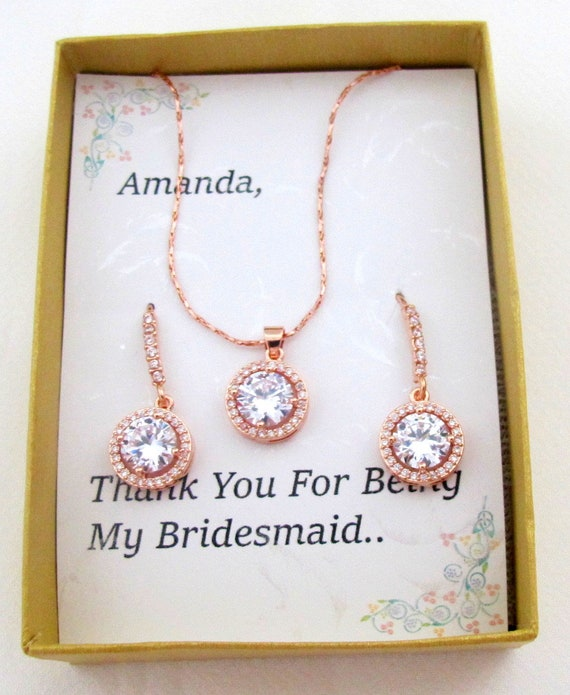 Rose gold bridesmaid jewelry,Necklace earring set,Bridesmaid gift set,Maid of Honor jewelry, Mother of Bride or Groom gift,Free Shipping USA