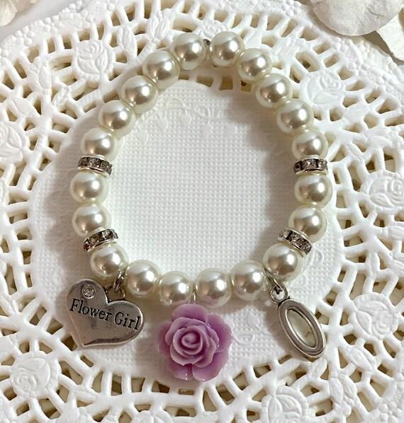 Personalized Flower Girl Bracelet, Pink Rose flower Bracelet, Wedding jewelry, Child's Pearl Bracelet, Flower girl Jewelry, Flower Girl Gift