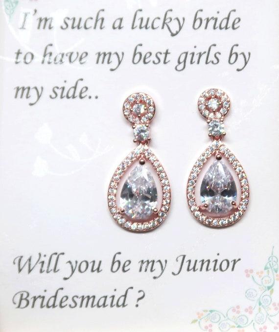 Rose Gold Bridal Earrings, Teardrop Wedding Earrings, tear drop pear cubic zirconia earrings, CZ Earrings, Bridesmaids gift, Mother Jewelry