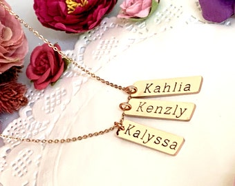 Personalized Bar Necklace, Engraved Necklace, Personalized Necklace Sister Gift, Gift for Mom, Gift for Best Friends, Free Shipping USA