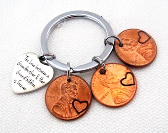 The Love Between Grandmother and her Grandchildren is Forever Penny Keychain,Mother's Day Gift for Grandma,Grandmother and Grandfather Gift