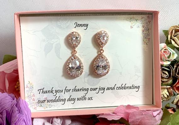 Custom Color,Teardrop bridesmaid cz earrings, Cubic Zirconia Bridesmaid earrings, Wedding earrings, Bridesmaid jewelry, Rose gold cz Earring