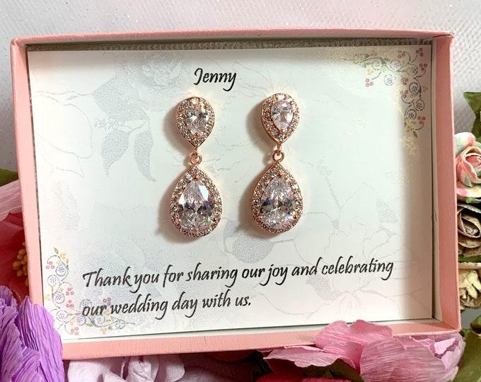 Teardrop bridesmaid cz earrings, Cubic Zirconia Bridesmaid earrings, Wedding earrings, Bridesmaid jewelry, Rose gold CZ Earring