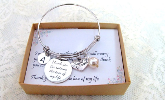 Thank You for raising the Man of my Dreams,Mother of Groom Wedding gift,Mother In Law Bangle Jewelry,Gift from Bride, Free Shipping In USA