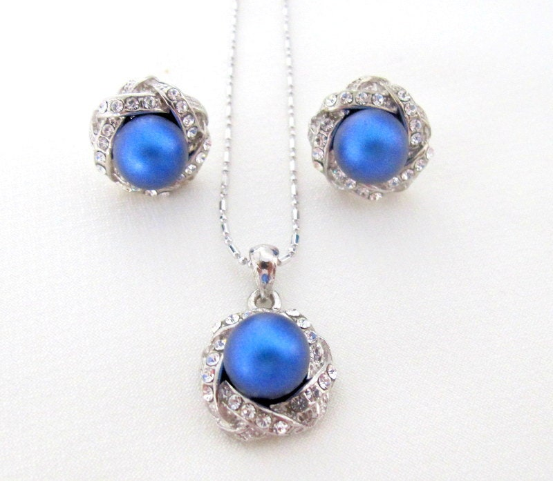 6f565097c5 Dark Blue Pearl Pendant Earrings Set Wedding Pearl pendant ...