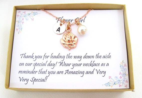 Rose gold flower girl necklace, Personalized flower girl gift, Flower girl jewelry, Little girl necklace, Rose gold flower girl necklace
