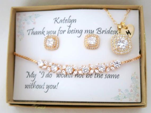 Custom Personalized Bridesmaid Jewelry Set, Bridesmaid gift Set, Bridesmaid Earrings, Necklace and Bracelet Set, Wedding Party gift Jewelry