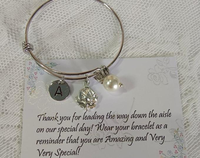 Silver Flower girl bracelet, Flower girl bangle, Personalized flower girl gift, Flower girl jewelry, Little girl bracelet, Child bangle