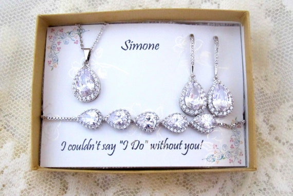 Custom Color, Tear drop earrings, Bridesmaid gift, bridesmaid earrings, Bridal Earrings,Wedding Earrings,Cubic Zirconia Earrings,Bridal gift