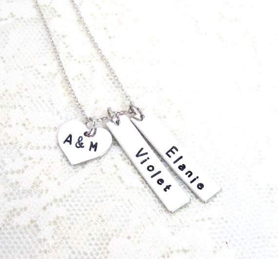 Necklace with Kids Names and Parents Initials,Personalized Family Necklace, Mother's Family Necklace Custom Mother Gift Hand Stamped Jewelry