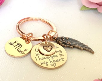 God has you in his hands, I have you in my heart, Angel Wing Key Chain, Bereavement Gift, Loss of loved one, Memorial KeyChain, Baby Loss