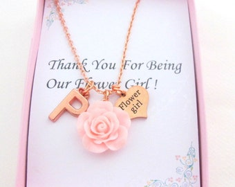 Flower Girl Necklace, Rose Gold Necklace, Personalized Flower Girl Gift, Thank You for Being Our Flower Girl, Resin Rose,Flower Girl Jewelry