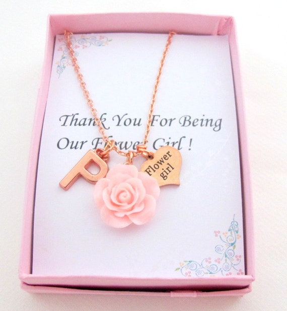 Flower Girl Necklace,Rose Gold Necklace,Flower Girl Gift,Thank You for Being Our Flower Girl,,Personalized Bridesmaid, Free Shipping In USA