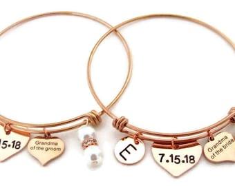 Rose Gold Wedding Bangle Bracelet,Grandma of Groom,Grandma of Bride,Wedding Date Bangle,Best Grandmother gift,Bridal gift, Free Shipping USA