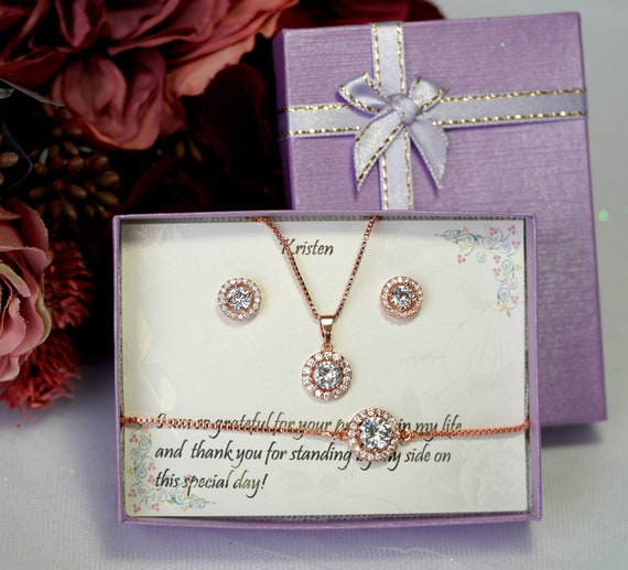 Custom Bridesmaid gifts Necklace Earrings set, Bridesmaid Earrings, Bridesmaid Necklace, Earrings and Bracelet Set, Bridal Party Jewelry Set
