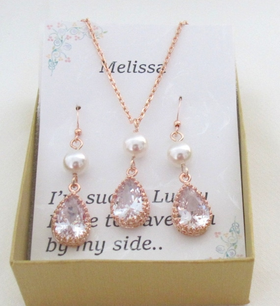 Tear drop CZ hook bridesmaid earrings necklace set,CZ Bridal Jewelry,Crystal Wedding jewelry Set, Rose Gold Necklace set, Free Shipping USA