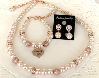 Rose Gold Jewelry Set,Rose Gold Necklace,Rose Gold Bracelet,Flower girl Jewelry,Mini Bride,Matron of honor,Bridesmaid gift,Free Shipping USA