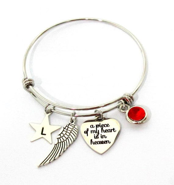 Memorial Bracelet. Personalized Memorial jewelry. Adjustable bracelet, Memorial gift, Sympathy Gift, Loss of Loved One, Piece of my Heart