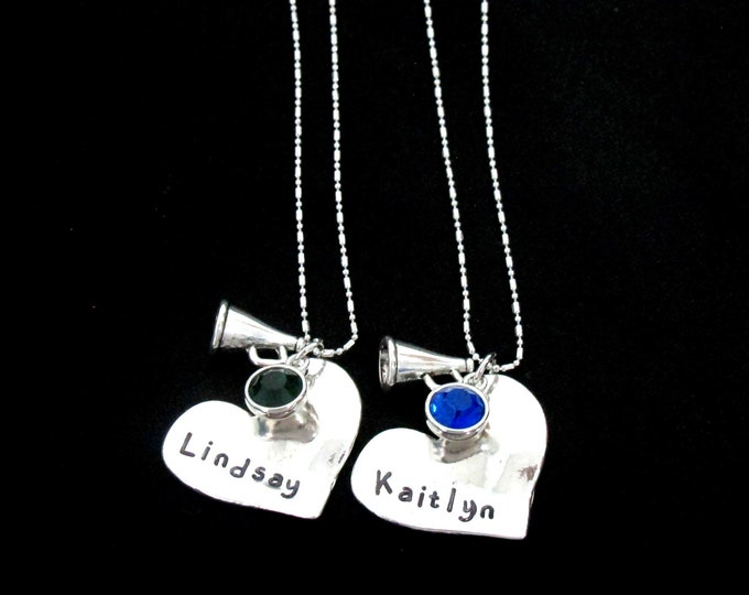 Personalizce Cheerleader Necklace,Cheerleader Gifts For Team, Cheer Team Necklaces -Hand stamped name,Cheer Team Gifts Cheer Squad Necklaces