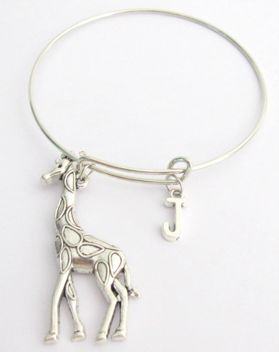 Large Giraffe Bangle Giraffe Bracelet Silver Giraffe Large Giraffe Bangle Charm Bangle Monogram Initial Bracelet Free Shipping In USA