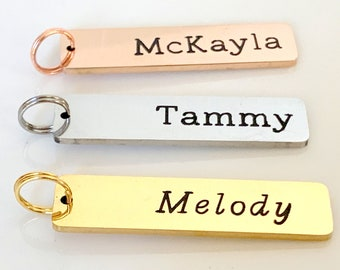 Add on Charm, Custom Bar Charm, Friendship gift, gift for Mom Engraved Charm Bar Personalized Custom Text or Name Tag  Rose Gold,Gold Silver