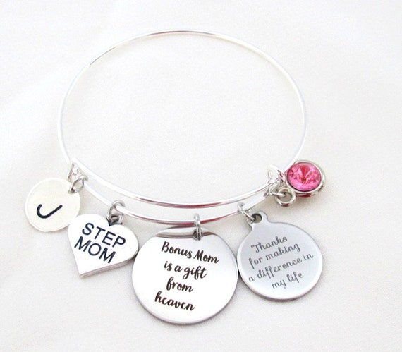 Best Step Mom Gift,Step Mom Bracelet,Step Mum Bangle Bracelet,Thank You for Making a Difference in my Life,Bonus Mom gift, Free Shipping USA