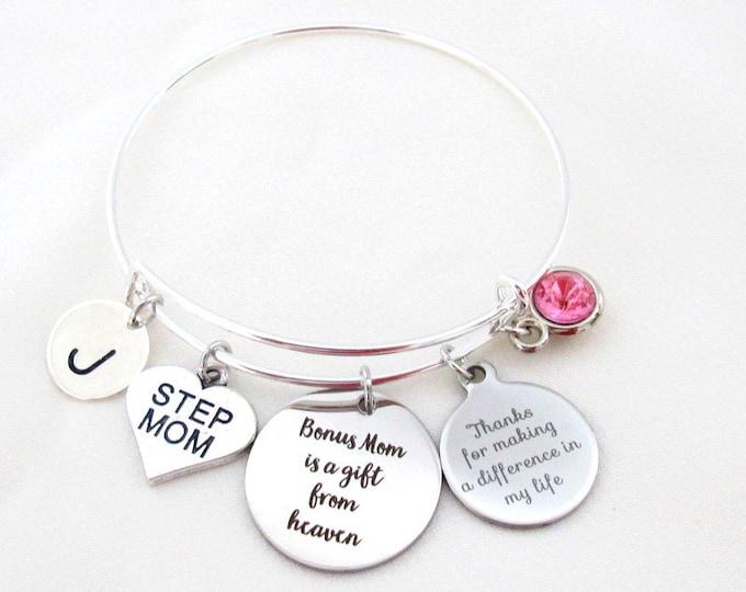 Best Bonum Mom Gift,Step Mom Bracelet,Bonus Mom Gift,Bonus Mom Bracelet,Thank You for Making a Difference in my Life,Bonus Mom jewelry,