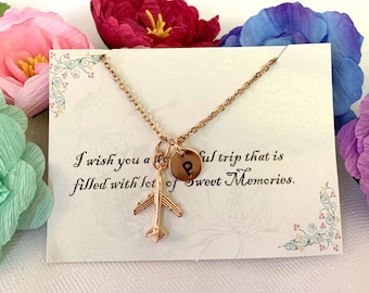 Rose Gold airplane necklace,Airplane necklace,Jet Plane Necklace, Personalized Initial, Best friends, sister, cousin, Free shipping USA