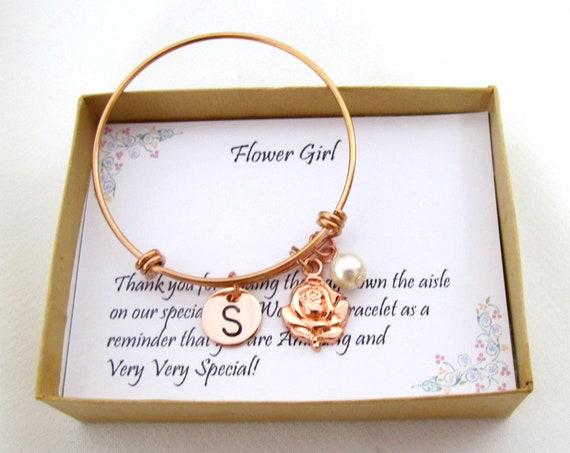 Rose gold Flower girl bracelet, Flower girl bangle, Personalized flower girl gift, Flower girl jewelry, Little girl bracelet, Child bangle