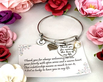 Thank You for raising the Man of my Dreams,Mother of Groom Wedding gift,Mother In Law Bangle Jewelry,Gift from Bride, Gift from Groom