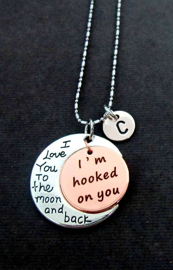 I am hooked on You Necklace,I Love You to the Moon Jewelry,Anniversary Gift, Gift for Her ,Girlfriend Gift,Lovers Jewelry, Free Shipping USA