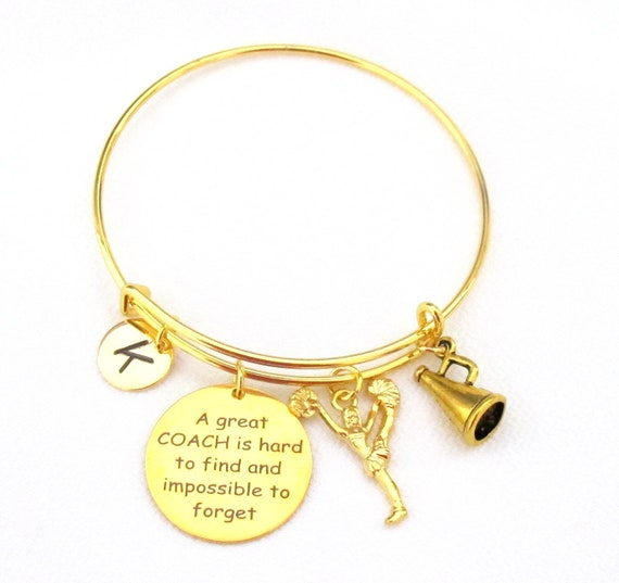Personalized Coach Gift,Coach jewelry,Coach Bracelet,Personalized Initial, Birthstone, Team Coach Gift,Gold Sports Bangle,Free shipping USA