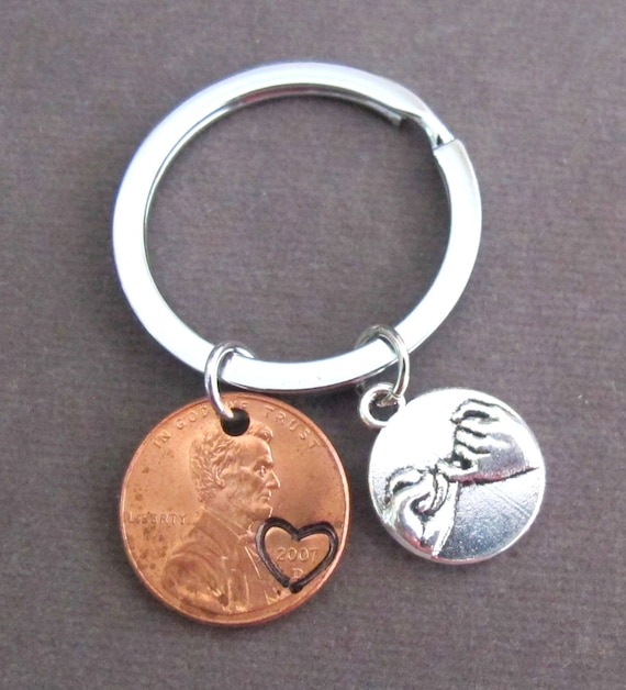 Penny Keychain,Pinky Promise Penny Keychain,Lucky Penny Keyring, Pinky Promise Heart Keychain,Friends Gift,Bff Jewelry, Free Shipping In USA