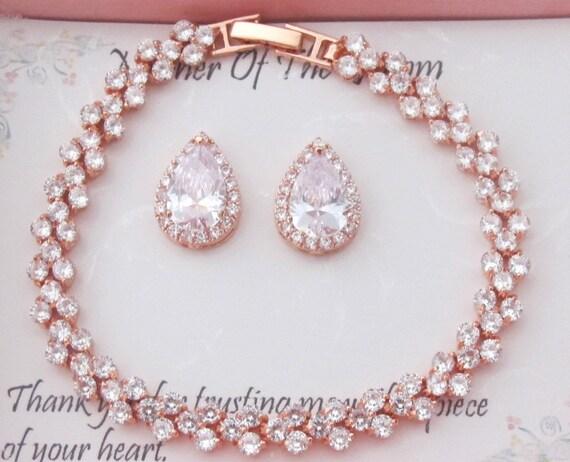 Bridesmaid earrings, Tear drop CZ bridesmaid gift, Cubic Zirconia bracelet earrings set, bridesmaid necklace, Pear CZ studs, Bridal Earrings