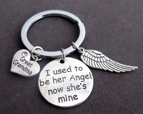 I used to be her angel now she's mine,Great Grandma,Grandma,Mom,Memorial Key Chain,Remembrance Jewelry,Bereavement gift,Free Shipping In USA