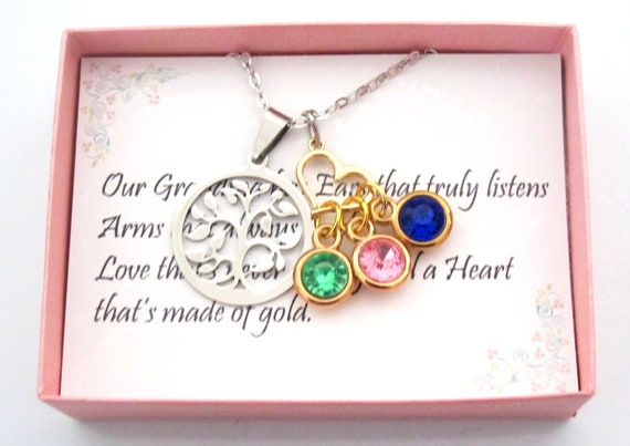 Mothers Day Personalized Birthstone Necklace, Grandmother Gift For Her From Daughter Family Tree Grandma Necklace For Mom Gift from Son