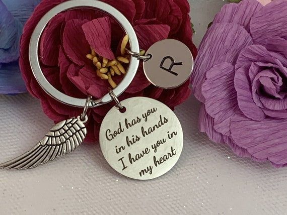 Personalized memorial keychain, God has you in His Hands I have You In My Heart, Angel Wing Key Chain, Bereavement Gift, Free Shipping USA