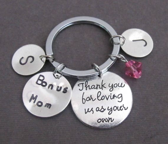 Thank you for loving us as your own,Bonus Mom Keychain,Bonus Dad Keyring, Step Mom, Step Dad, Foster Parent, Guardian gift,Free Shipping USA
