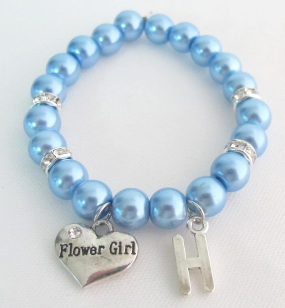 Flower Girl Bracelet Wedding Jewelry Flower Girl Initial Bracelet Junior Bridesmaid Free shipping In USA
