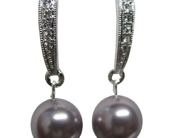 ERC903 Rhinestones Surgical Post Earrings with Swarovski Mauve Pearl Free Shipping In US